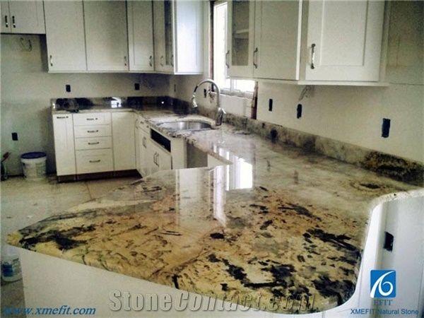 Yellow Tiger Skin Granite Kitchen Countertops Sink