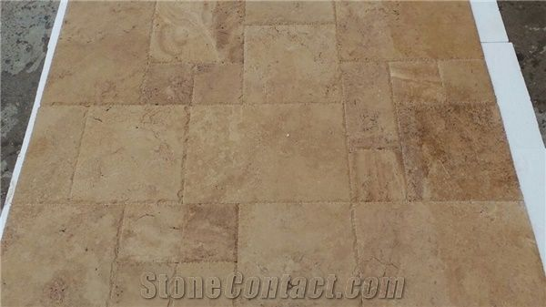 classic brown travertine french pattern
