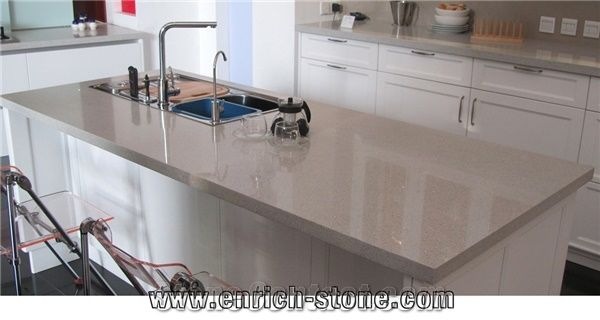 Sparkle Quartz Stone Kitchen Countertops Sparkling White