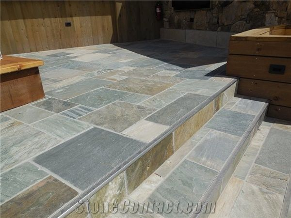 exterior deck slate tile install from