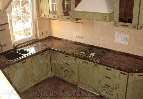 Dark Emperador Kitchen Countertop Spain Brown