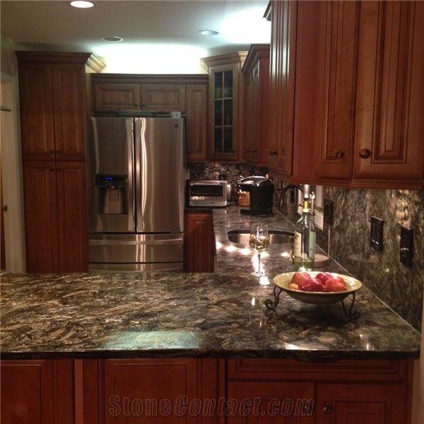 Metalicus Granite Kitchen Countertop with Full Backsplash ... on Granite Stove Backsplash  id=59228