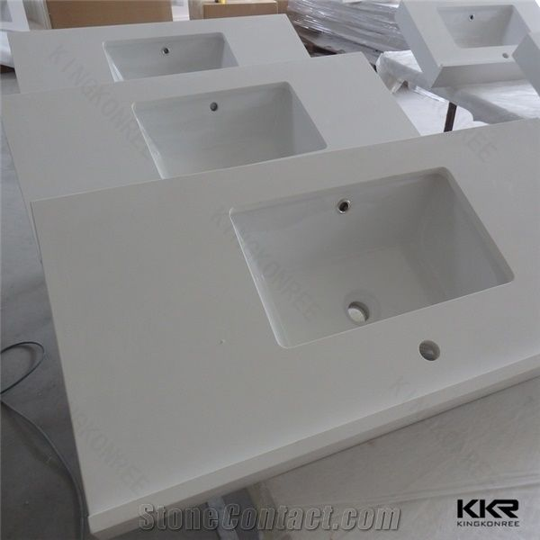 Cut To Size Marble Composite Home Depot Bathroom Engineered Stone Quartz Vanity Top From China