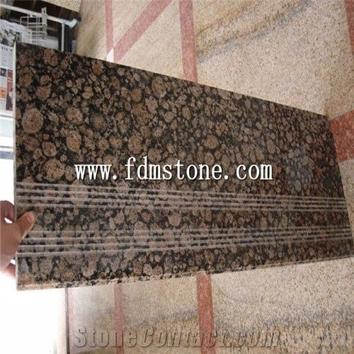 Baltic Brown Granite Stone Polished Bullnosed Step Stair Treads | Wood Stairs With Tile Risers | Color Scheme | Creative | Stair Outdoors | Grey | Tile Residential