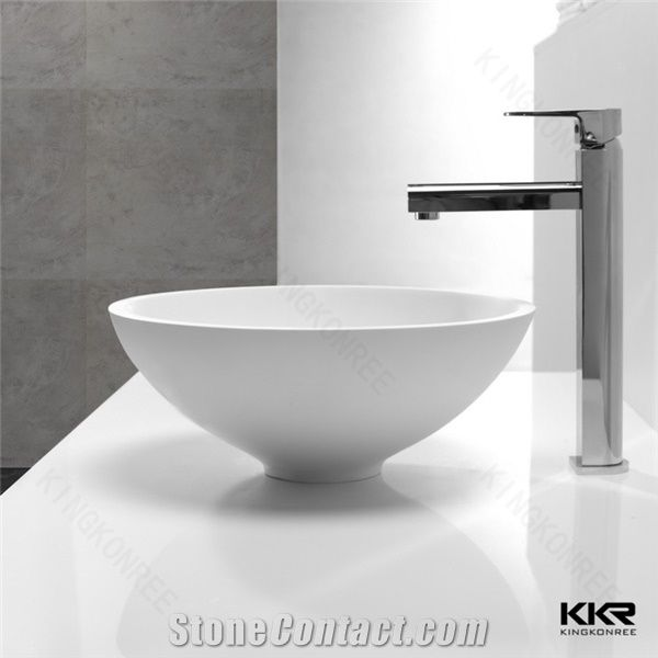 above counter sink type small bathroom