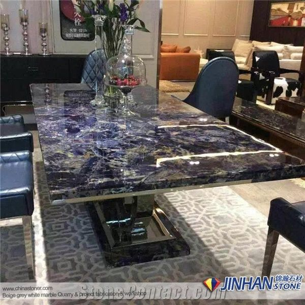 Blue Gemstone Sodalite Blue Table Top For Kitchen