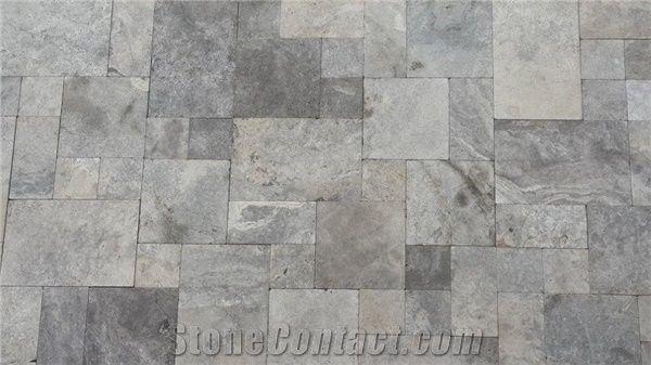 silver travertine tiles pattern