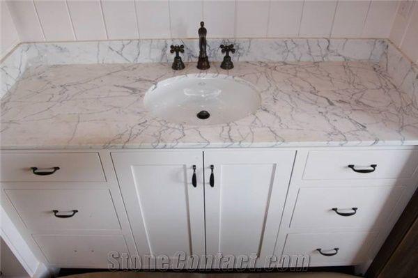 carrara white marble bathroom vanity tops/carrara white marble