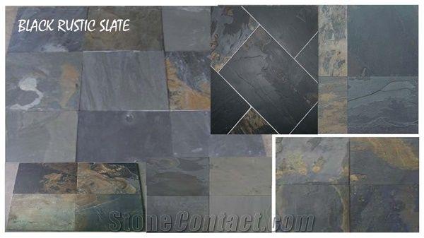 black rustic slate tiles slabs black