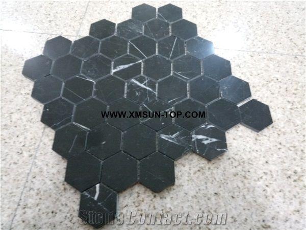 polished black marble hexagon mosaic