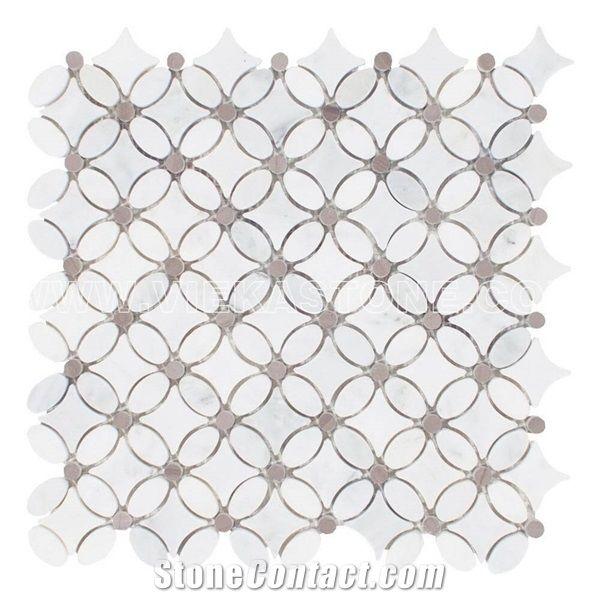 grey dot marble mosaic tile