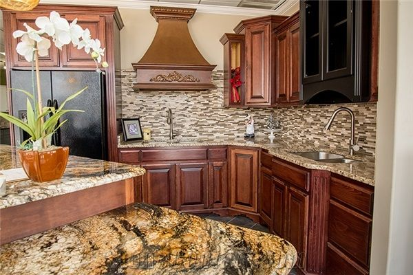 kitchen island with golden crystal
