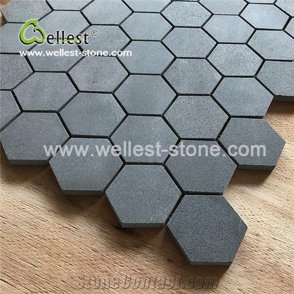 grey basalt honed hexagon mosaic for