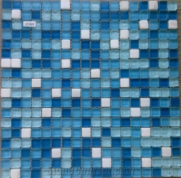 swimming pool blue crystal glass mosaic