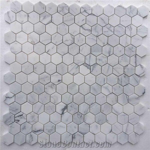wholesale white marble hexagon mosaic