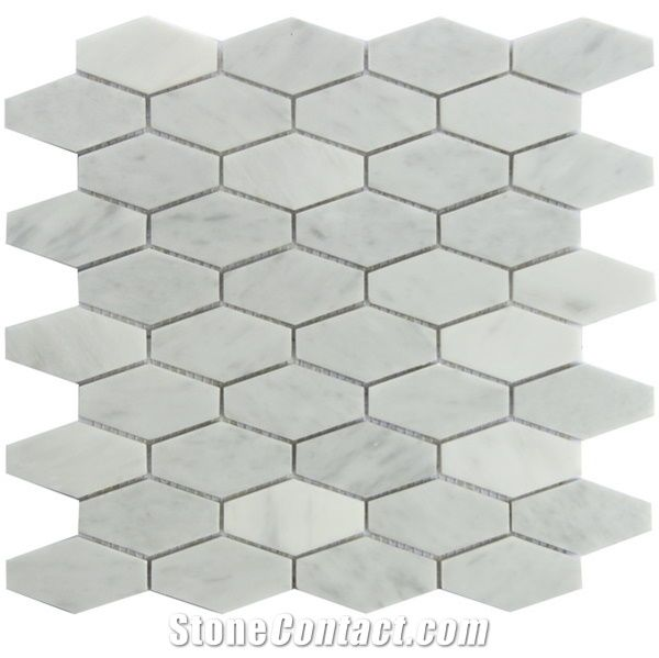 carrara white 1 1 4x3 elongated hexagon