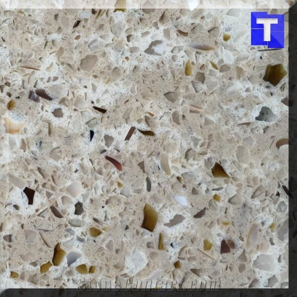 Beige Brown Gl Quartz Stone Tiles