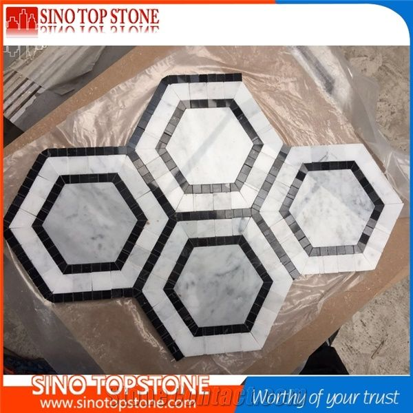black marble hexagon mosaic tile