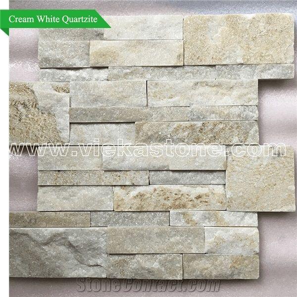 China Cream White Quartzite Stacked Stone Wall Cladding