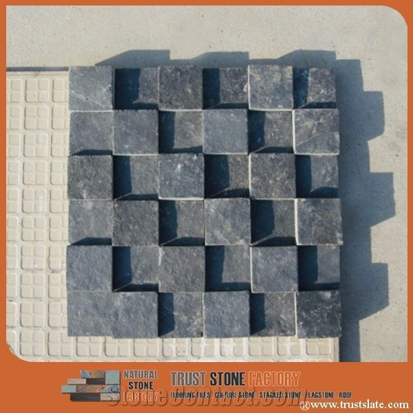 black gray quartzite mosaic tiles