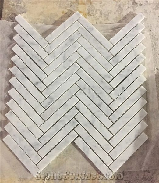 carrara white 1x4 chevron mosaic tile w