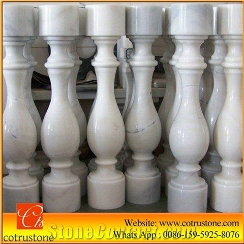 Hot Sale White Marble Baluster Guangxi White Stair Handrail China   Stair Handrails For Sale   Iron Staircase   Cable Railing   Deck Railing   Handrail Bracket   Balusters