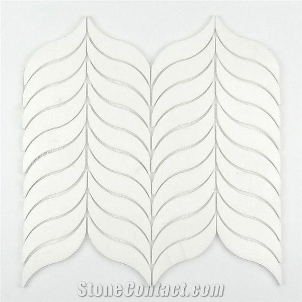 crystal white leaf shaped mosaic tile