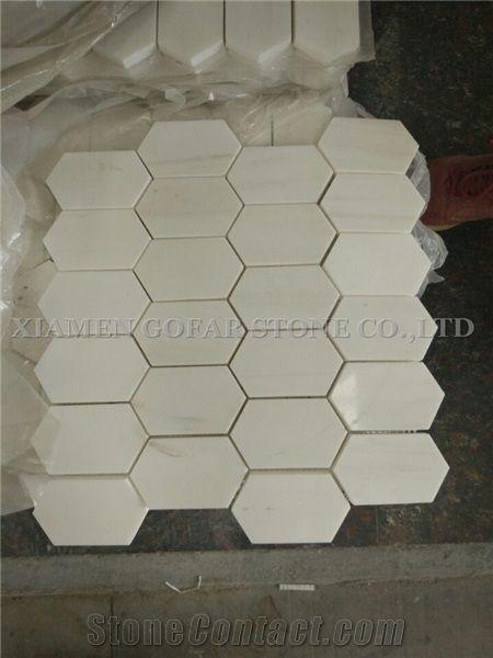 bianco dolomite marble polished hexagon