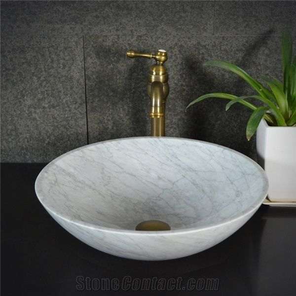 Bianco Carrara White Marble Round SinkNatural Stone Basin Kitchen Sinks Bathroom Sinks Wash