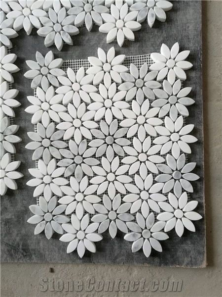 white grey marble mosaic natural stone