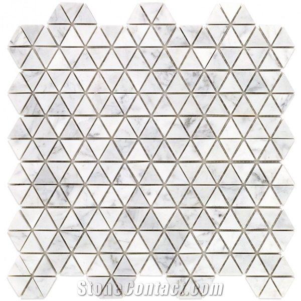 carrara white marble triangle mosaic