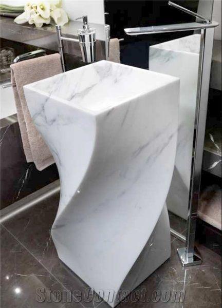 carrara white marble pedestal sink