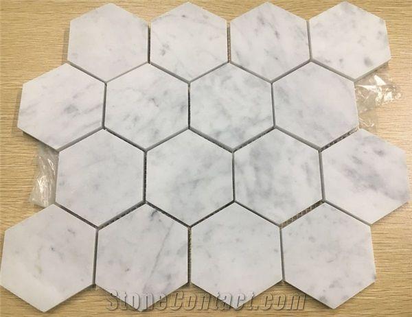 carrara marble hexagon mosaic wall