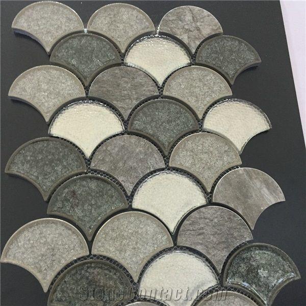 white grey glass fan shaped mosaic
