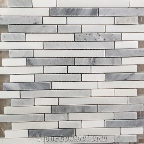 grey marble mosaic tile backsplash