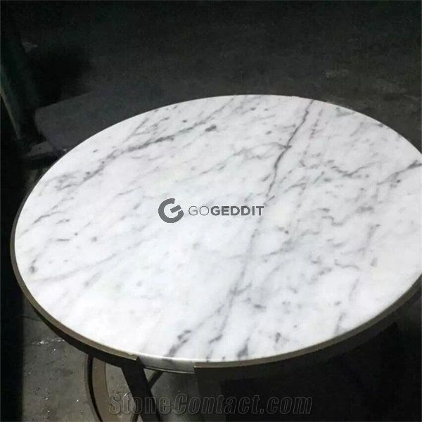 carrara white marble round patio table