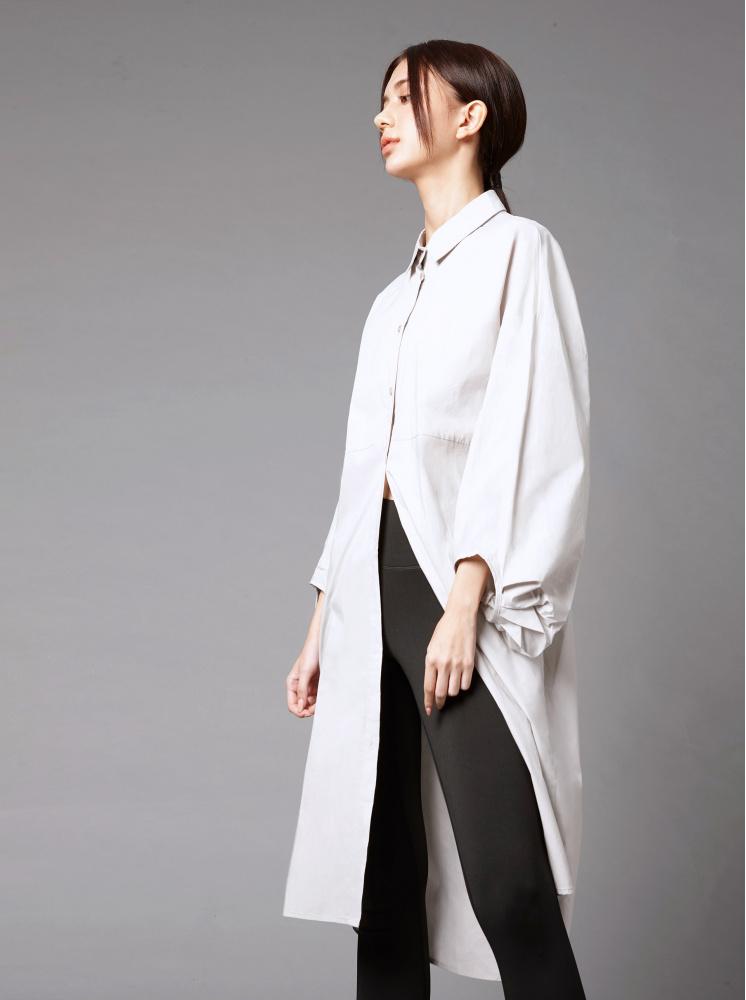 長版澎袖襯衫洋裝-淺灰 - 洋裝 - AVILAS/4REASON 提領時尚