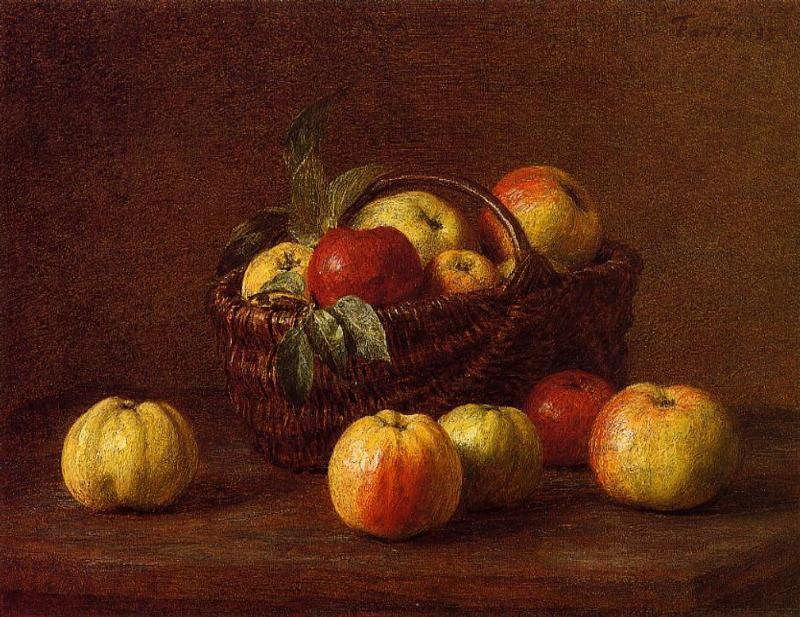 pommes dans un panier sur une table de henri fantin latour 1836 1904 france reproductions. Black Bedroom Furniture Sets. Home Design Ideas