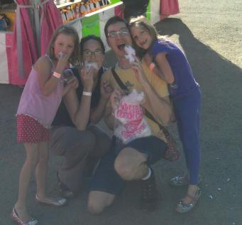 The family at the fair... with cotton candy!