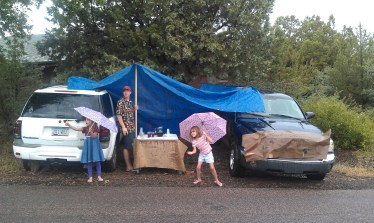 They were determined to sell lemonade and art, even in the rain!