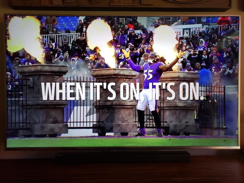 Screen Shot of Baltimore Ravens Foam Props on Thursday Night Football