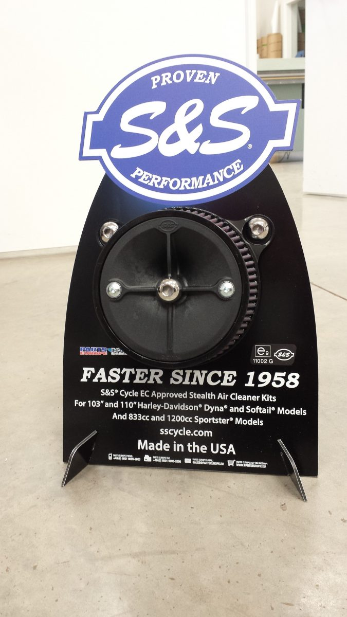 Custom Cut Metal Display Print - S&S Cycle Air Cleaner Display