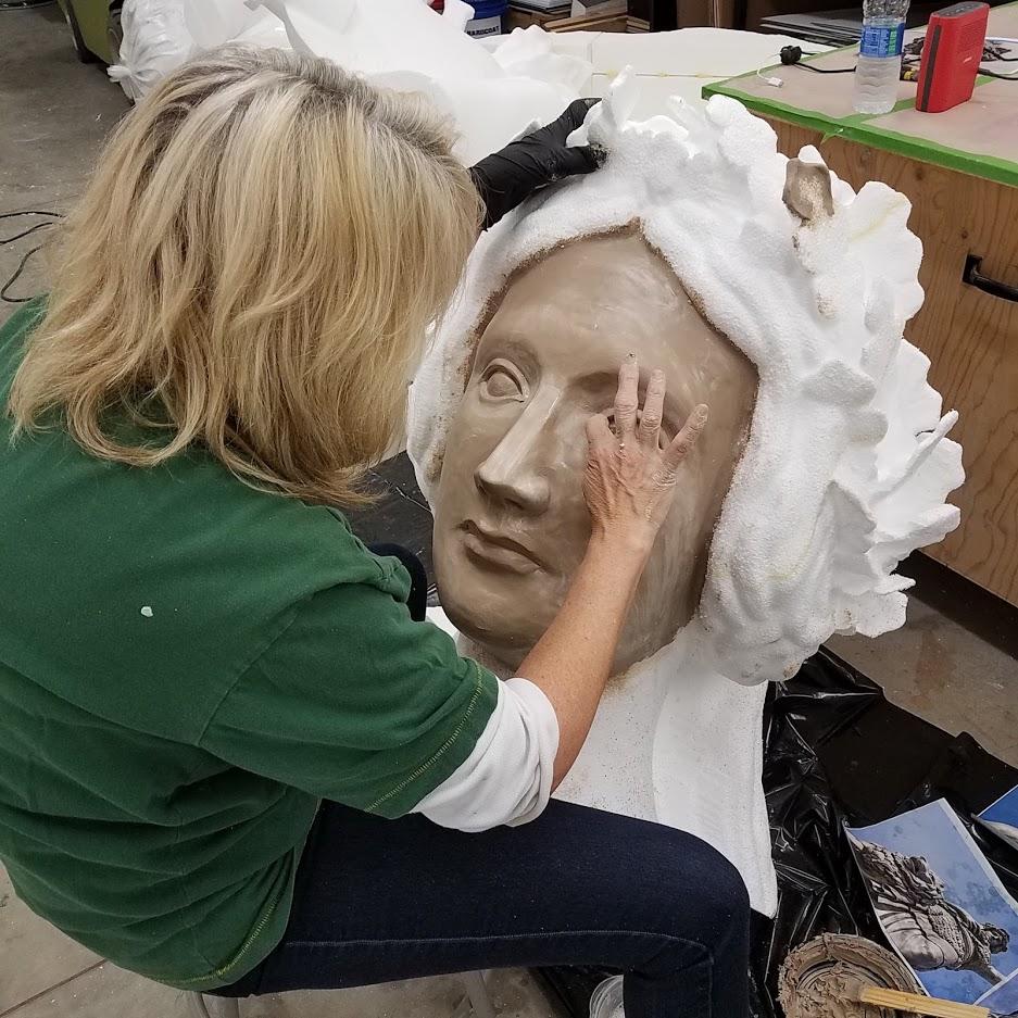 Foam Sculpture face detail of the Bavarian Maiden