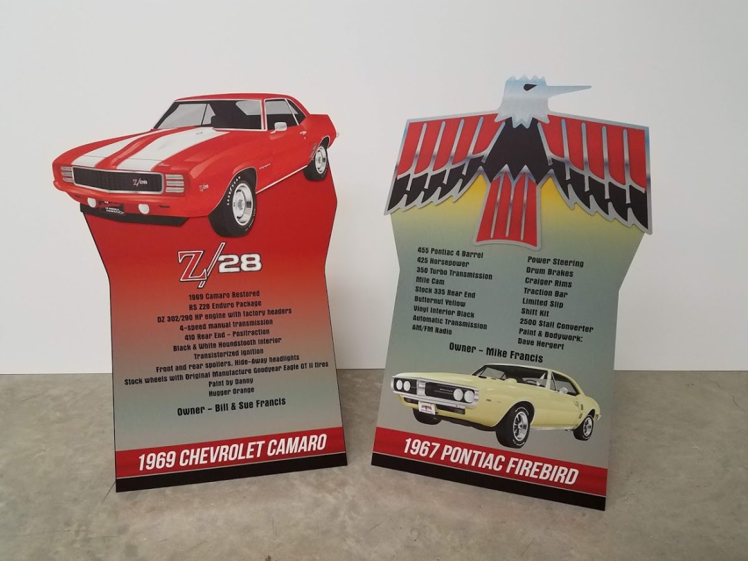 Car Show Display Metal Sign with Easel