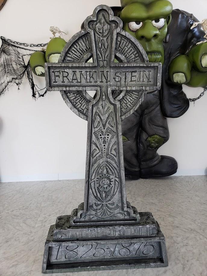 Sculpted foam Halloween Theme Display - Frankenstein  Headstone