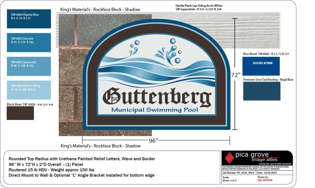 Custom Design - Guttenberg Pool Sign