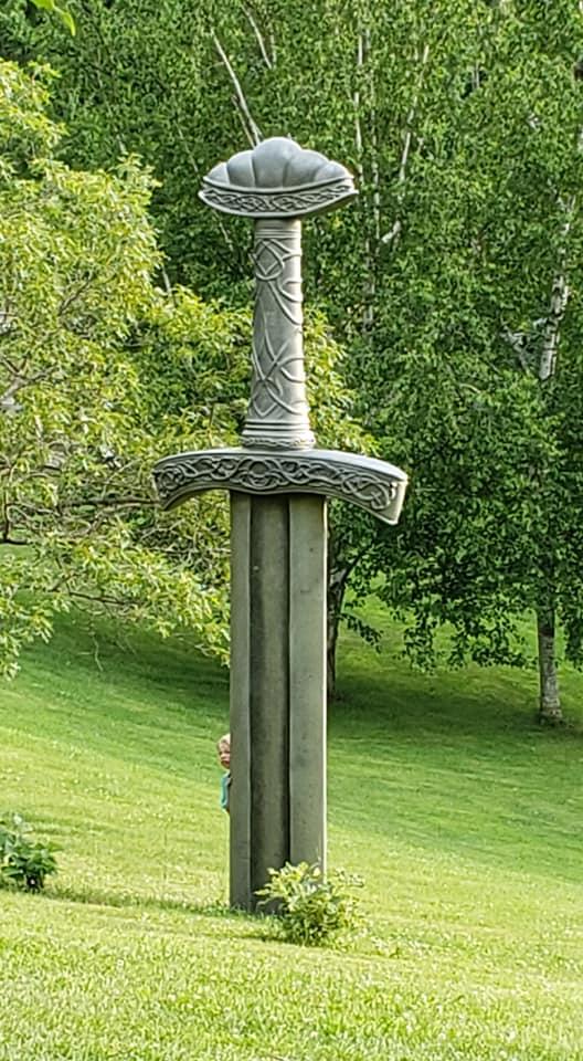 Foam Sculpting - 16' tall Viking Sword Sculpture