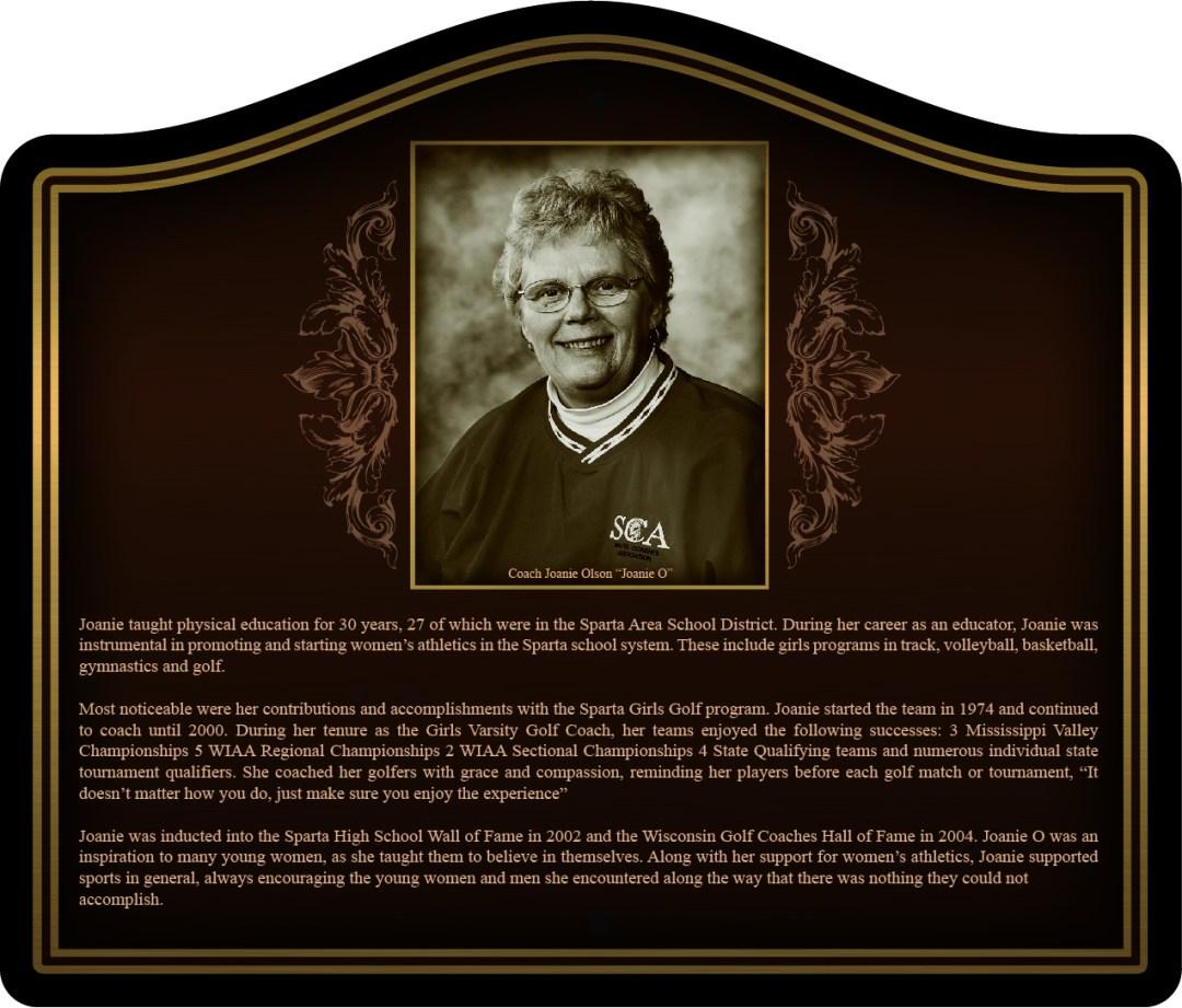 Dedication Plaque - Golf - Joanne Olson