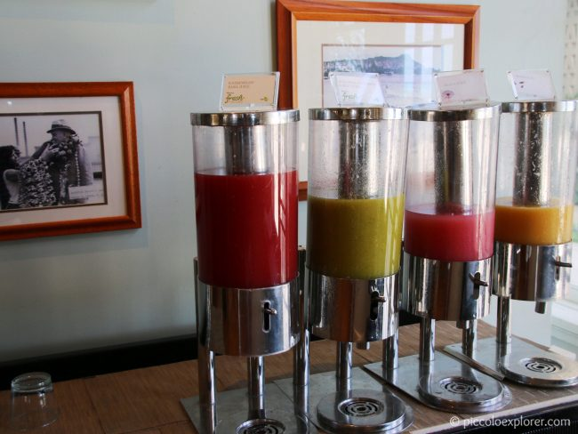 Fresh fruit juices, breakfast buffet at Moana Surfrider