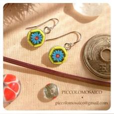 orecchini micromosaico piccoli fiore blu 01